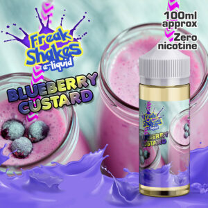 BLUEBERRY CUSTARD - Freak Shakes e-liquid. 100ml of zero nicotine e-liquid in a 120ml bottle. 70% VG / 30% PG and flavourings.