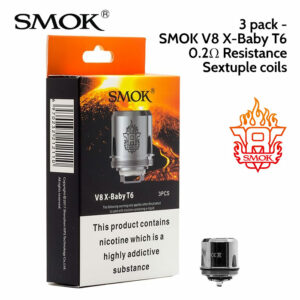 3 pack - SMOK V8 X-Baby T6 Sextuple coils atomisers 0.2 ohm