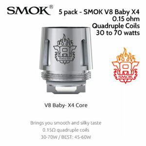 5 pack - SMOK V8 Baby X4 quad coil atomisers 0.15 ohm
