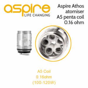1 x Aspire Athos atomiser A5 penta coil 0.16 ohm