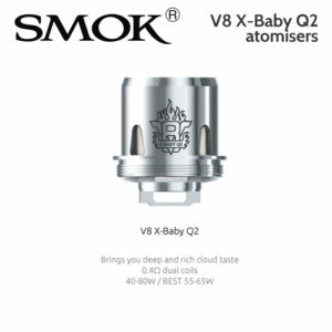 3 pack - SMOK V8 X-BABY Q2 atomisers 0.4ohm dual coil