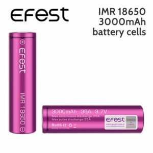 2 pack - Efest IMR 18650 Rechargeable 3000mAh Batteries