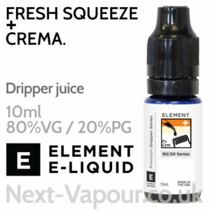 Fresh Squeeze + Crema - ELEMENT 80% VG Dripper e-Liquid - 10ml