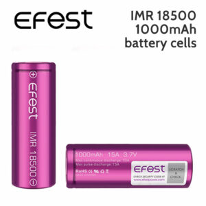 2 pack - Efest IMR 18500 rechargeable 1000mAh battery cells