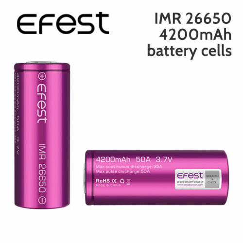 2 pack - Efest IMR 26650 rechargeable 4200mAh battery cells