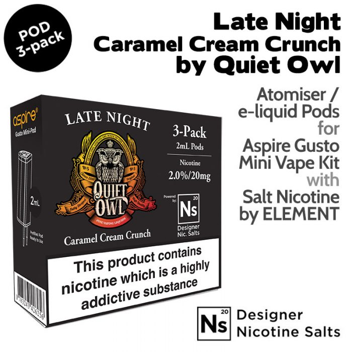 3 pack of Pods - Late Night by Quiet Owl and Element NicSalt for Aspire Gusto Mini