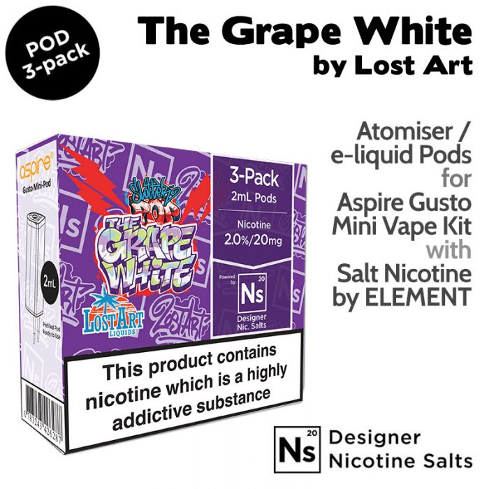 3 pack of Pods - The Grape White by Lost Art and Element NicSalt for Aspire Gusto Mini