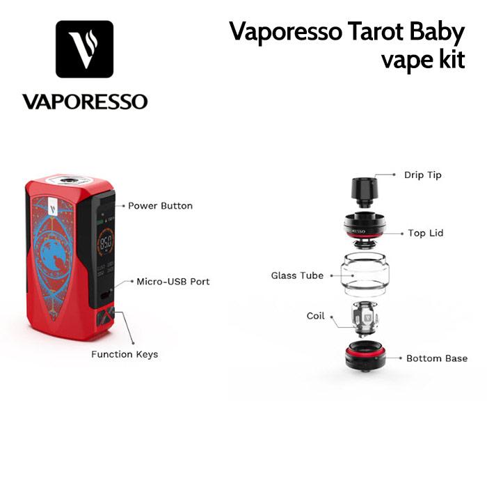 Vaporesso Tarot Baby vape kit with 85 watts and Insta-Fire technology