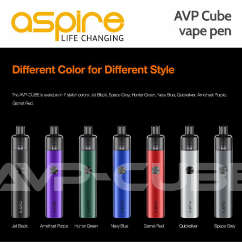 Aspire AVP Cube vape pen The Aspire AVP Cube is the next generation of the Aspire AVP design, with an all-new cube shape, for increased ergonomic comfort. The Aspire AVP-CUBE runs on classic AVP Pro coils, both MTL and DL are easily achieved depending on which coil you use. The AVP-CUBE is available in 7 stylish colours: Jet Black, Space Grey, Hunter Green, Navy Blue, Quicksilver, Amethyst Purple, Garnet Red. Large inbuilt rechargeable 1300 mAh battery to help achieve great performance and a longer run time, and type-C 2Amp quick charging. The AVP-CUBE can be adjusted to 10 watts, 12 watts, 14 watts, and 16 watts. Just press the button twice to change the wattage. The AVP-CUBE features 4 airflow setting options. There are 0/2/4/8 airflow holes in different sides, you can choose the perfect airflow, according to your vaping needs. The AVP-CUBE has a strong magnetic connection between the pod and battery for stable performance and simple operation. Lift the bottom seal in the pod to refill with e-liquid. Numerous safety protections to protect the device from overheat, short circuit, over-charge, etc. Size: 110x22x22mm Weight: 64g 2ml liquid capacity Material: battery case is Aluminium alloy, tank is PCTG. REPLACEMENT Aspire AVP Pro coils ARE HERE.