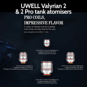 2 pack of UWELL Valyrian 2 and 2 Pro coils