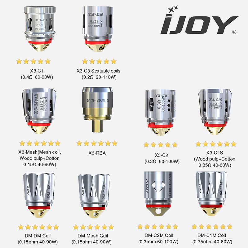 3 pack of iJoy atomisers - X3 and DM