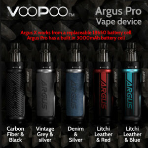 VooPoo Argus Pro vape device (built in 3000mAh battery)